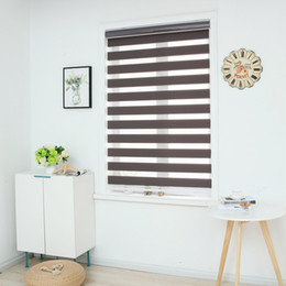 Zebra Blinds Horizontal Window Shade Double layer Roller Blinds Window Custom Cut to Size Dark Grey Curtains for Living Room