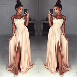 2018 Peach Sexy Split Side High Lace Top Prom Dresses Spaghetti Straps A Line Chiffon Long Evening Gowns BA7097