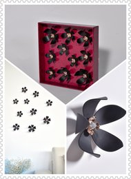 (Promotion: Buy 1 get 1 free)Flower 3D Wall Stickers Black color(10pcs box) (black)