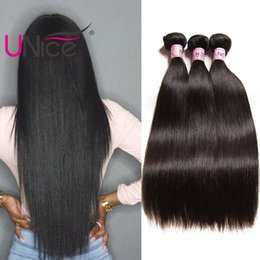 UNice Hair Virgin Unprocessed Brazilian Straight Bundles Remy 100% Human Hair Extensions Wholesale Cheap Nice Silk Hair Weaves 8-30 inch