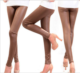 Women High Waist Stretchy Faux Leather Skinny Tights Shiny Leggings Pants Slim Thin Trousers Feet Street Style Fashion Clothing