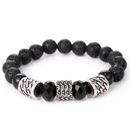 Tibetan Antique Silver Plated Buddhism Six Words Mantra Lotus Bracelet Men Natural India Onyx Mala Bracelets Yoga Jewelry