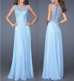 Sexy Slim party evening dress light blue lace spell chiffon back zipper sexy floor dress