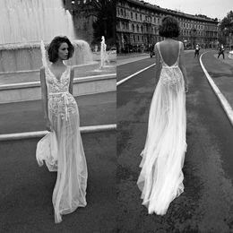 Liz Martinez Luxury Lace Floral Beach Boho Wedding Dresses 2018 V-neck Backless Cheap Free People Bohemian Street Bridal Dress