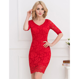 Women's sexy dresses Red Black Party dress floral Half sleeve Women's Slim fashion