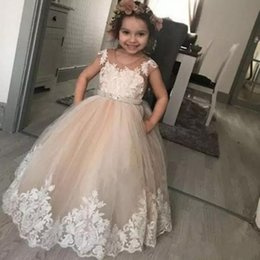 Lovely Champagne Flower Girl Dresses For Weddings Ball Gown Lace Appliques Toddler Kids Birthday Party Communion Dresses Tulle Gowns