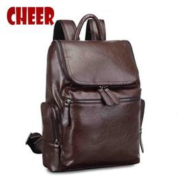 Wholesale- Men s backpack school male bag laptop notebook backpacks men  travel bags pu leather backpack for school portfolios for teens 4f3a337019e64