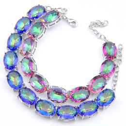 3PCS   LOT Valentine Day Gift Oval Crystal Rainbow Mystic Topaz Gemstone 925 Sterling Silver Plated Bracelet Bangle Russia Bracelet Jewelry