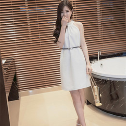 Spring and Summer 2018 New Pearl Neck Sexy Strapless Dress Women's Belts
