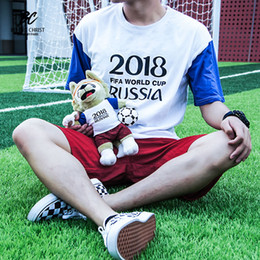 2018 Russian World Cup Hercules Cup mascot Zhabiwaqia, commemorative sports white print T-shirt and red shorts suit loose breathable sportsw