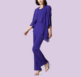 Purple Chiffon Mother Of The Bride Pant Suits Plus Size With Jacket Ankle Length 3 Pieces Formal Evening Dresses Long Sleeves Mother's Suits
