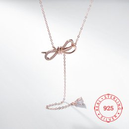 2019 new high quality 925 sterling silver rose gold plated butterfly with rhinestone necklace for girl fashion necklace for women