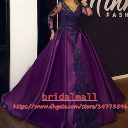 V Neck Purple Satin Long Sleeve Evening Dresses 2019 Beaded Appliqued Dubai Arabic Formal dress Party Prom African Quinceanera Ball gowns