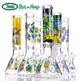 Hot sell Glass Bongs with Rick & Morty series logo 7mm thick dab rigs glass water bongs beaker bong