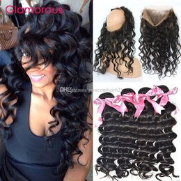 Glamorous Peruvian Virgin Hair Weaves with 360 Frontal Round Lace Closure with 4 Bundles Brazilian Malaysian Indian Natural Wave Human Hair