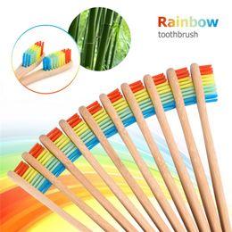 Rainbow Head Bamboo Toothbrush Soft Bristle Tooth brush Small Brush Head Wood Handle Rainbow Color Brush Teeth Whitening Oral Hygiene 20