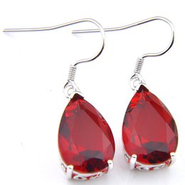 Wholesale LuckyShine 12 Pairs Vintage Water Drop Red Earrings 925 Silver Fashion For lady New Style Garnet Gems Wedding earring