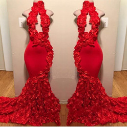 2019 Red Rose Mermaid Prom Dresses New Sexy High Neck Appliques Formal Evening Dresses Sweep Train Hot Sale Cocktail Party Gowns