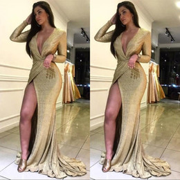Custom Rose Gold Sequin Long Sleeve Prom Formal Evening Dresses 2019 Deep V neck Slit Sparky Sexy Floor Length Special Occasion Gowns