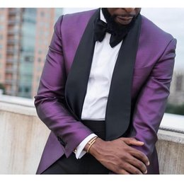 Popular Prom Party Tuxedos Suits Purple With Black Shawl Lapel Mens Blazer Suits(Blazer+Pants) Wedding Best Mens Tuxedos Suits Custom Made