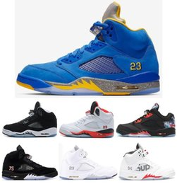 High Quality 5 Laney Varsity Royal Blue PSG Oreo CNY Men Basketball Shoes 5s Fire Red Olympic Metallic Gold Silver Sneakers With Box