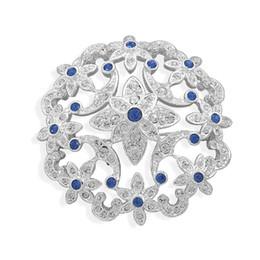 1.8 Inch Rhodium Silver Tone Clear and Royal Blue Rhinestone Crystal Diamante Floral Wedding Brooch Vintage