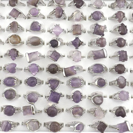 Natural Amethyst Stone Rings Gemstone Jewelry Women's Ring Bague 50pcs Valentine's Day Gift