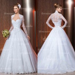 Sheer Lace Wedding Dresses Sexy Sweetheart Applique Tulle Backless Bridal Gowns with Long Sleeve Bolero and Beaded Sash LT42