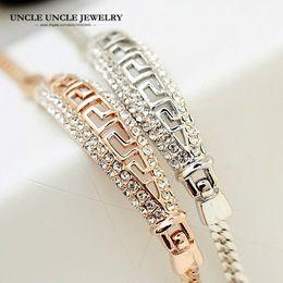 Rose Gold Color Brand Design Rome G Style Rhinestones Fully Setting Luxury Lady Bracelet