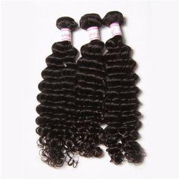 BIG DISCOUNT 30% Remy hair Weaves Weft Indian Deep Wave Virgin Hair Top Grade Virgin Indian natural Wave Deep Wavy Human Hair Extension
