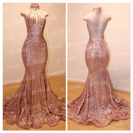 2019 Sexy Rose Gold Backless Mermaid Sequins Long Prom Dresses High Neck Full Length Elegant Vintage Long Maid Of Honor Bridesmaid Gowns