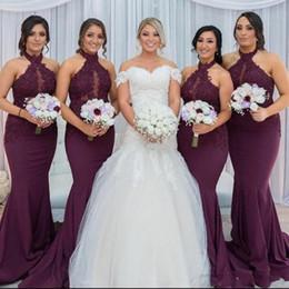 2019 Burgundy Halter Lace Bridesmaid Dresses Keyhole Sheer Neck Custom Made Mermaid Wedding Guest Gown Vestido Gadern Wedding BM0982