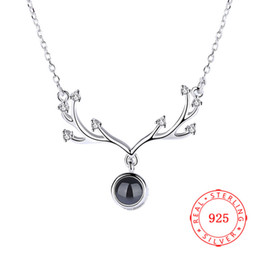 charm Antlers designs 925 sterling silver pendant necklace China high quality gold rose gold christmas jewelry competitive prices wholesale
