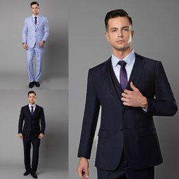 High Quality 2019 Newest Mens Blazer Suits Three Pieces Notch Lapel Wedding Tuxedos Suits Formal Wear Best Mens Bridegroom Mens Suits