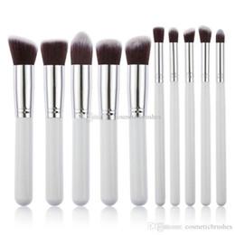 Mybasy Hot Sale White 10pcs Cosmetics Brushes Makeup Tool Powder Eyeshadow Cosmetic Set - Makeup Brushes (White gold)18cm