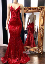 2019 Sexy Red Long Mermaid Evening Dresses Sequins Halter Neck Backless Formal Evening Gowns Red Carpet Runaway Celebrity Prom Dress Custom