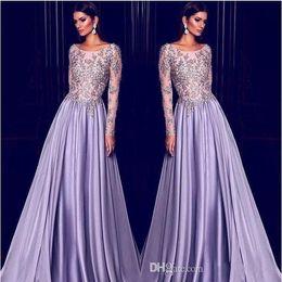 Elie Saab Lavender Dubai Arabic Kaftan Long Sleeves Evening Dresses Gold Embroidery 2019 Elegant Sheer Neck Celebrity Dress Prom Party Wear