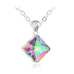 Luckyshine New Women Square Rainbow Natural Mystic Topaz Gems Silver Necklace Party Holiday Jewelry Gift