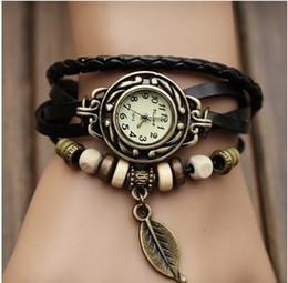 Watch Fashion Women Quartz Dress Watch leaf Pendant Weave Wrap Synthetic vintage Leather Bracelet Casual Wristwatch