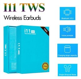 i11 TWS Wireless Bluetooth Headphones Earbuds with pop up window Twins Mini Earbuds for iPhone X IOS Android i11 5.0 touch blue box