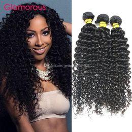 Glamorous Human Hair Weft Natural Color Brazilian Malaysian Peruvian Indian Jerry Curly Hair Extensions 3 Bundles 100g pcs Virgin Hair Weave