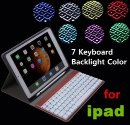 NEW Wireless Bluetooth 3.0 Holder Removable Keyboard Leather Case Aluminum With 7 color Backlight For 2017 2018 iPad Pro 9.7 10.5 Air1 2