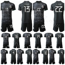 Mexico 2019 2020 Men Soccer 18 Andres Guardado Jersey Set 10 Giovani Dos Santos 22 Hirving Lozano Home Black Football Shirt Kits Uniform