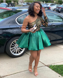 African A Line Hunter Lace Homecoming Dresses One Shoulder Long Sleeve Short Prom Gowns Cheap Pleated Satin Cocktail Dress