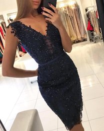 Navy Blue Sheath V Neck Lace Cocktail Dresses Tulle Appliques Knee Length Beaded Homecoming Dresses Short Party Gowns BC0970