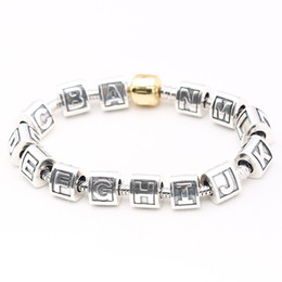 Loose beads Fits for Pandora Bracelet & necklace 100% authentic 925 sterling silver beads DIY charms letter Original jewelry wholesale