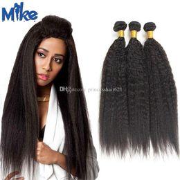 MikeHAIR Brazilian Kinky Straight Human Hair 3 Bundles Peruvian Malaysian Indian Mongolian Hair Weave 8-30inch Yaki Straight Hair Extensions