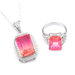 Luckyshin 2set lot Rings Pendants Sets square Bi colored Tourmaline Vintage 925 silver Necklaces Women Weddings Party Xams Gift