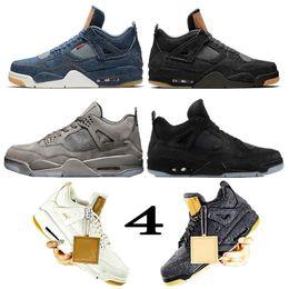 nike air Levis x jordan air retro 4s Travis Scott KAWS X 4s Zapatillas de baloncesto para hombre IV OFF oilers Denim LS Jeans flight Blanco Azul Negro Mujer zapatillas deportivas zapatos de diseñador