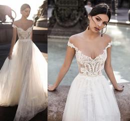 Gali Karten 2020 Lace Wedding Dresses Bridal Gowns Sheer Off The Shoulder Open Back Bohemian Lace Zipper Back Appliqued Wedding Gowns
